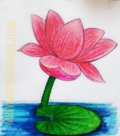 Basic Drawing For Kids, Easy Art For Kids, Easy Drawings For Kids, Art Lessons For Kids, Oil Pastel Art, Oil Pastel Drawings, Colorful Drawings, Lotus Drawing, Lotus Painting