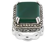 Tillya Treasures (Tm) Square Green Onyx With Marcasite Sterling Silver Ring (TLA237S)