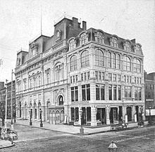 Booth's Theater, viewed from diagonally across the intersection of 23rd Street and Sixth Avenue. Built and owned by Edwin Booth, opened in 1869 and lost to bankruptcy in 1874. Sold in 1881 and turned into McCreery & Co. department store until 1965. Demolished soon after and turned into a parking lot.
