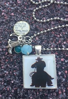 Cowboy Silhouette Domed Resin Pendant Necklace
