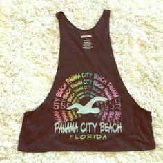 New!Panama City beach shirt Cool shirt from Panama City beach Florida. It's super low on the sides. Looks really cool with a bikini or sports bra. Sunsations Tops Muscle Tees