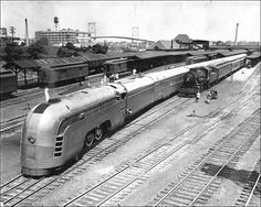 New York Central Railroad first introduced the streamline passenger train, the Mercury, in Designed by industrial designer, Henry Dreyfuss, the Rail Train, Train Art, New York Central Railroad, Train Posters, Railroad History, Old Trains, Vintage Trains, Train Engines, Model Train Layouts