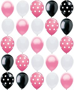 "25ct Polka Dot PRINCESS MIX Pearl Pink, Black & White 11"" Party Balloons Bouquet. $9.25, via Etsy."