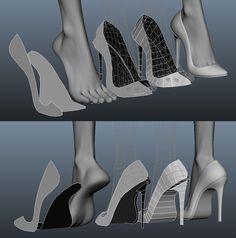 Maya Modeling, Surface Modeling, Modeling Tips, 3d Model Character, Character Modeling, Character Design, 3d Modellierung, High Heel Models, Polygon Modeling