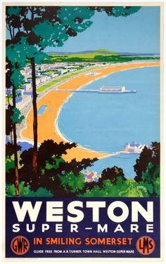 Weston Super-Mare In Smiling Somerset GWR LMS 1930s - original vintage railway poster by Jackson Burton listed on AntikBar.co.uk