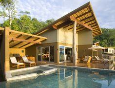 Peninsula Papagayo, Costa Rica. Love the roof style here and the unfinished beam.