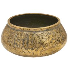 1stdibs - A silver inlay Islamic brass water bowl, with incised inscriptions.16th Century explore items from 1,700  global dealers at 1stdibs.com