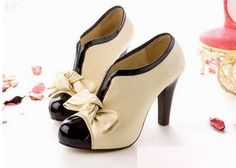 FREE SHIPPING!  Material: PU Leather Heel: 8cm Platform: 0.5cm  For US Sizes 4 5 6 7 8 please see this link  http://www.storenvy.com/products/906916-free-shipping-cute-bow-cream-and-black-heel-heels-shoes