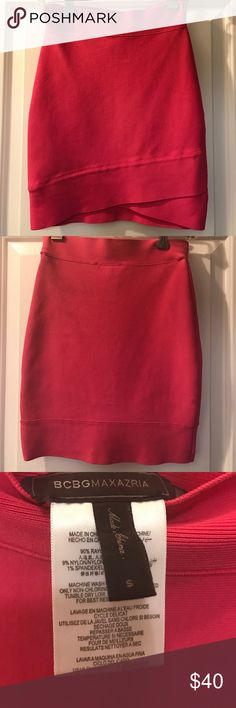 BCBG bandage skirt! Never worn! Size Small BCBG pink bandage skirt! Slight lift design in front of skirt.. Never worn! Size Small BCBG Skirts Mini