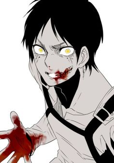 """It's me captain.. You're 'sweet' Eren.. "" *licks blood from lips eyes having a crazy look in them* ""Don't you recognize me.?"""