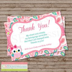 Pink Paisley Owl Baby Shower Thank You Card on Etsy, $8.00