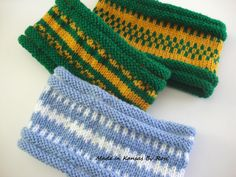 Hand knit headband/earwarmers, made in local school colors, from Made In Kansas BY Rosi... on facebook.