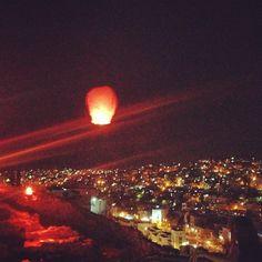 Floating lanterns over #Amman and the Roman Amphitheatre. #Jordan #Travel