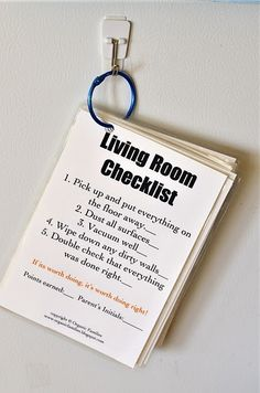 Cleaning checklist on a ring. Maybe this would be a good way to have cleaning accountability.