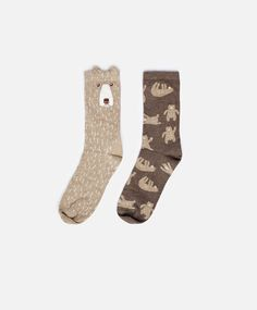 Brown bear socks, null€ - Pack of 2 pairs - Find more trends in women fashion at Oysho . Funky Socks, Crazy Socks, Cute Socks, My Socks, Fashion Socks, Kids Fashion, Sock Animals, Wild Animals, Baby Animals
