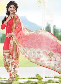 Coral Pink Hina Khan Patiala Suit