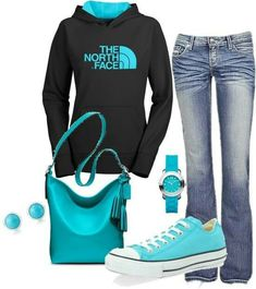 North Face sweatshirt, tiffany blue Converse, minus the bag
