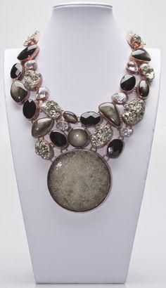 Charles Albert, Coin, Rainbow Obsidian,Pyrite, Smokey & Clear Quartz Necklace.