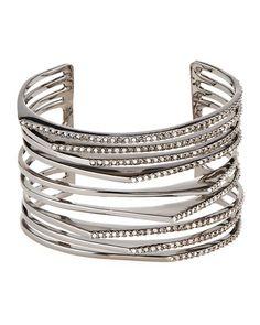 Alexis Bittar Crystal Origami Peaks Cuff Bracelet