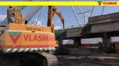 Sloop Spoorbrug Muiderberg A1  Vlasman b.v. sloopt de oude spoorbrug met maar liefst 13 kranen! Een mega project op de A1. Een van de grootste infrastructurele operaties. (Kijk in HD!)