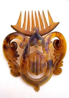 Mid Victorian Hair Comb Hinged Carved Natural Horn