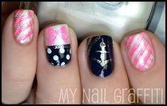 Love the anchor and pink stripe nails - she used an assortment of old Bundle Monster plates, our You Mix plates, and a Born Pretty plate for this design. Colors used: Dr.'s Remedy Noble Navy, Orly Au Chanpagne, Orly Luxe, and Color Club Poptastic.