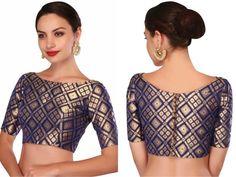 Latest saree blouse patterns for 2018 saree jacket designs Indian Blouse Designs, Blouse Back Neck Designs, Brocade Blouse Designs, Saree Jacket Designs, Designer Blouse Patterns, Brocade Blouses, Boat Neck Designs Blouses, Latest Saree Blouse Designs, Latest Blouse Patterns