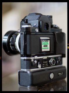 Nikon SB, Nippon Kogaku Auto Nikkor-O loaded with Delta 400 film Antique Cameras, Old Cameras, Vintage Cameras, Nikon Camera Lenses, Nikon F2, Nikon Cameras, Photo Equipment, Photography Equipment, Best Film Cameras