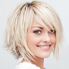 Short Bob Haircuts with Bangs | Short Layered Bob Hairstyles with side bangs for blonde platinum