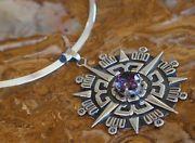 1940's Spratling Style Sunburst Sterling Silver Alexandrite Pendant Necklace 51G