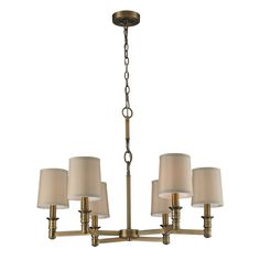 ELK 6- Light Chandelier In Brushed Antique Brass - 31266/6
