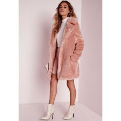 Longline Faux Fur Coat Pink ($5.19) ❤ liked on Polyvore featuring outerwear, coats, pink coat, faux fur coat, imitation fur coats, missguided coats and longline coat