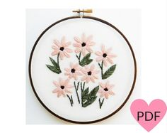 Daisy Embroidery Pattern PDF Pattern Floral by cinderandhoney