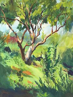 Twisted Limbs by Heather Martin Watercolor ~ 24 x 18 Gouache Painting, Painting & Drawing, Landscape Art, Landscape Paintings, Painting Inspiration, Art Inspo, Art Watercolor, Guache, A Level Art