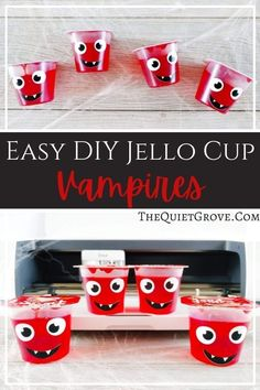 How adorable are the little Jello Cup Vampires I made using Jello Cups, Vinyl and my Cricut?!? They are perfect for Halloween parties and kids lunches!  #CricutMade #CricutCreated #HalloweenTreats #HalloweenDIY Halloween Celebration, Halloween Parties, Spooky Halloween, Halloween Treats, Jello Cups, Silhouette Projects, Autumn, Fall, Craft Tutorials