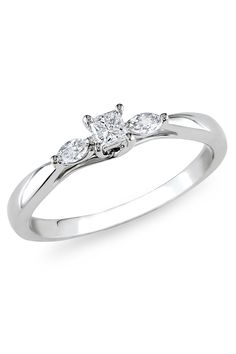 1/4 ct Princess Diamond Engagement Ring in 10k White Gold. So simple (and relatively inexpensive)