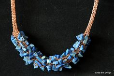 Lapis with Copper Viking Knit Necklace by LindaBrittDesign on Etsy, $65.00