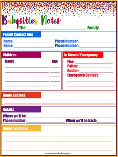 Blank printable information sheet for notes to give to the babysitter!