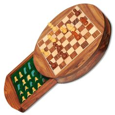 Indian Handicrafts 6X6 inches Round Wooden Chess Board Set Drawer With Magnetic Piece With Premium Quality Playing Chess/Christmas gift