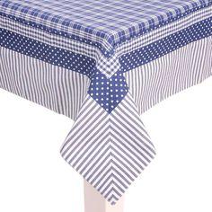 landelijk blauw geruit tafelkleed