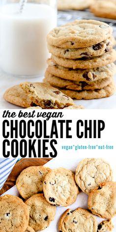 Dessert Sans Gluten, Vegan Dessert Recipes, Vegan Sweets, Dinner Recipes, Vegan Chocolate Chip Cookie Recipe, Best Vegan Chocolate, Chocolate Cookies, Simple Vegan Cookie Recipe, Gf Cookie Recipe