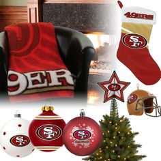 San Francisco 49ers Christmas Ornaments, Stocking, Tree Topper, Blanket