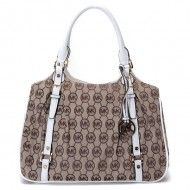 Michael Kors Large Bedford MK Logo Monogram Tote Beige White $89  http://www.newperfectstyle.com