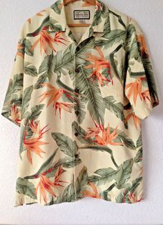 Jamaica Jaxx Floral Hawaiian Tiki Large Yellow Green 100% Silk Shirt Large…
