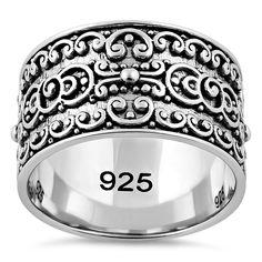 Sterling Silver Swirls Band Ring