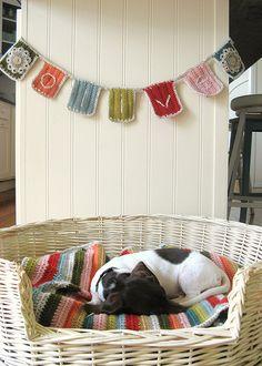 Basket Dog Bed, Crocheted Dog Blanket and Crocheted Banner
