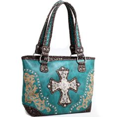 Women's Fashion Western Studded Rhinestone Cross Handbag Croco Trim Blue   Shop at http://stores.ebay.com/jodezegiftsnmore on eBay