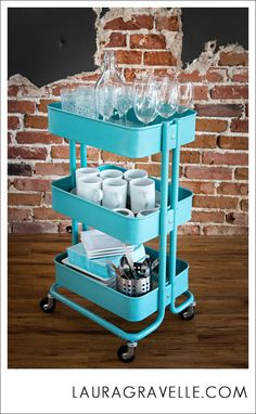 Ikea, aqua cart. My Denver Photography Studio - Laura Gravelle Photography, Denver, Colorado.