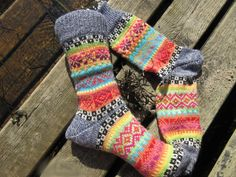 Colorful socks knitted in fair isle patterns wool polyacryl Outfit Des Tages, Knit Or Crochet, Knitting Socks, Pattern, Etsy, Accessories, Knit Socks, Diy Clothes, Knit Patterns
