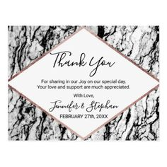 Modern Marble Rose Gold Pinstripe Thank You Postcard - gold wedding gifts customize marriage diy unique golden